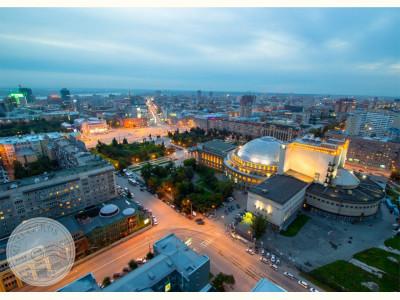Новосибирск. Вид на вечерний Оперный