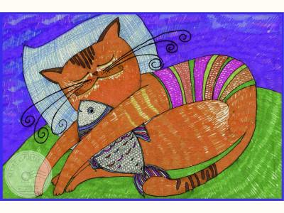 Благотворительная открытка. Кошачье счастье